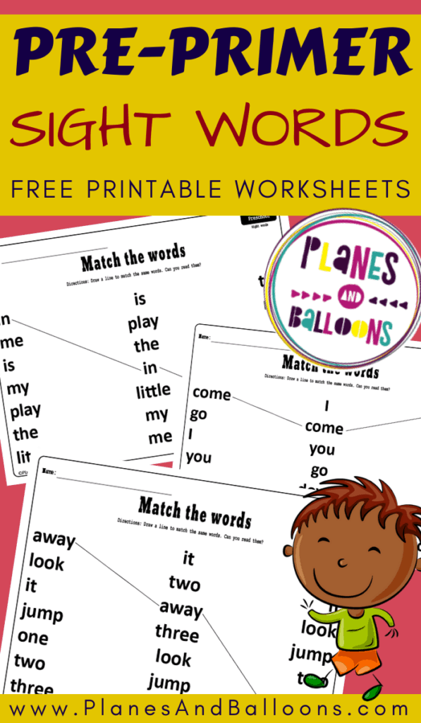 Dolch pre-primer sight words worksheets