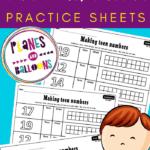 Kindergarten teen numbers practice sheets