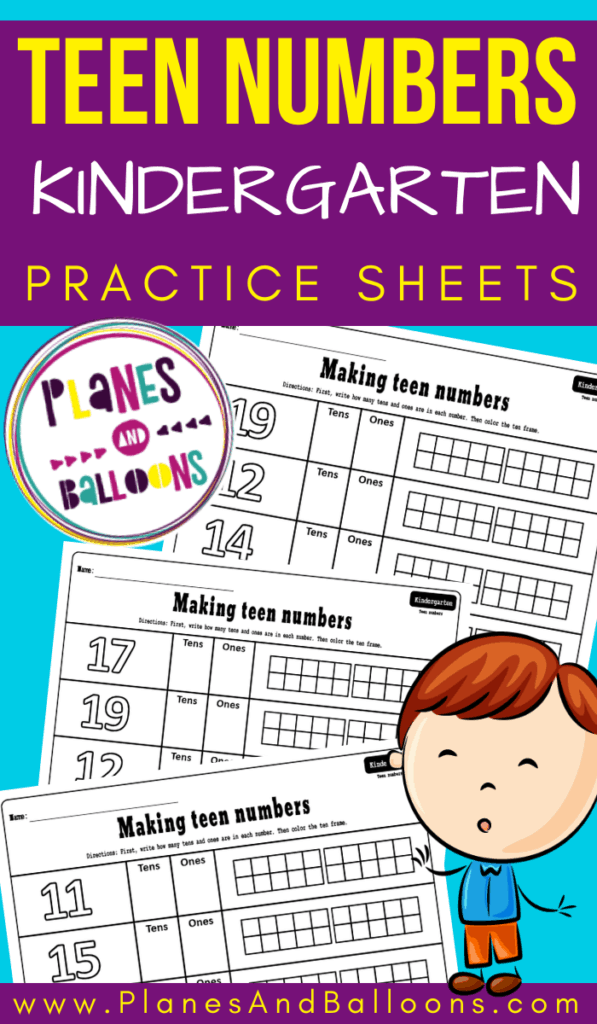 Kindergarten teen numbers practice sheets