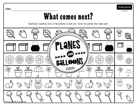 Kindergarten patterns worksheets