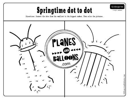 Springtime dot to dot printables
