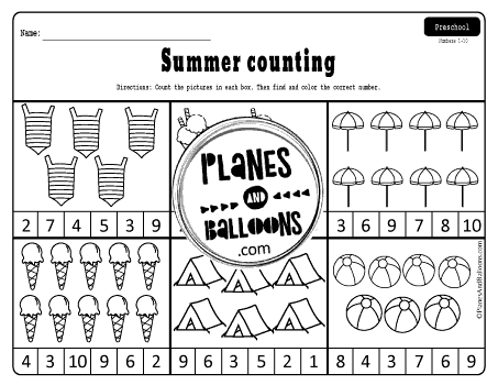 Summer counting worksheets pdf