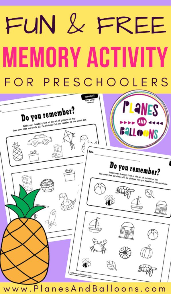 preschool memory worksheets pdf
