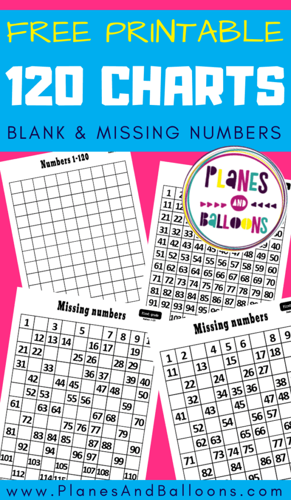 Four 120 charts with missing numbers and blank too