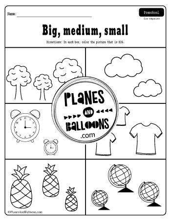 preschool worksheets big medium small ordering