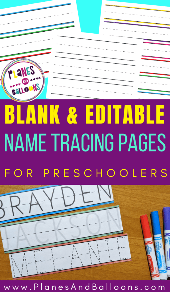 Picture of name tracing worksheets and strip for preschool