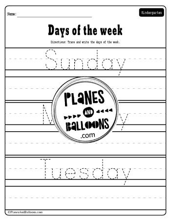 Days of the week tracing words
