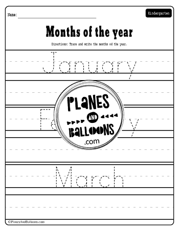 Months of the year tracing words