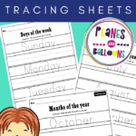 Days of the week and months of the year tracing worksheets on a blue background