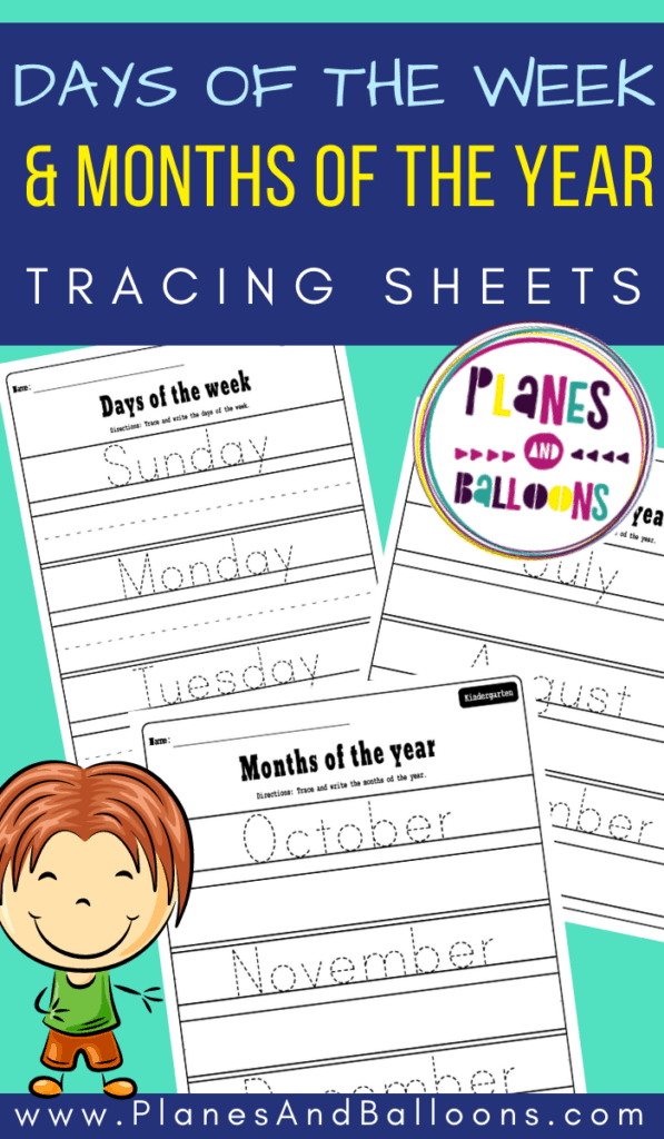 Days of the week and months of the year tracing worksheets