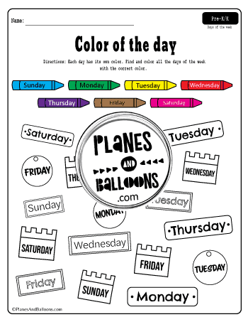 Color by the day of the week worksheet