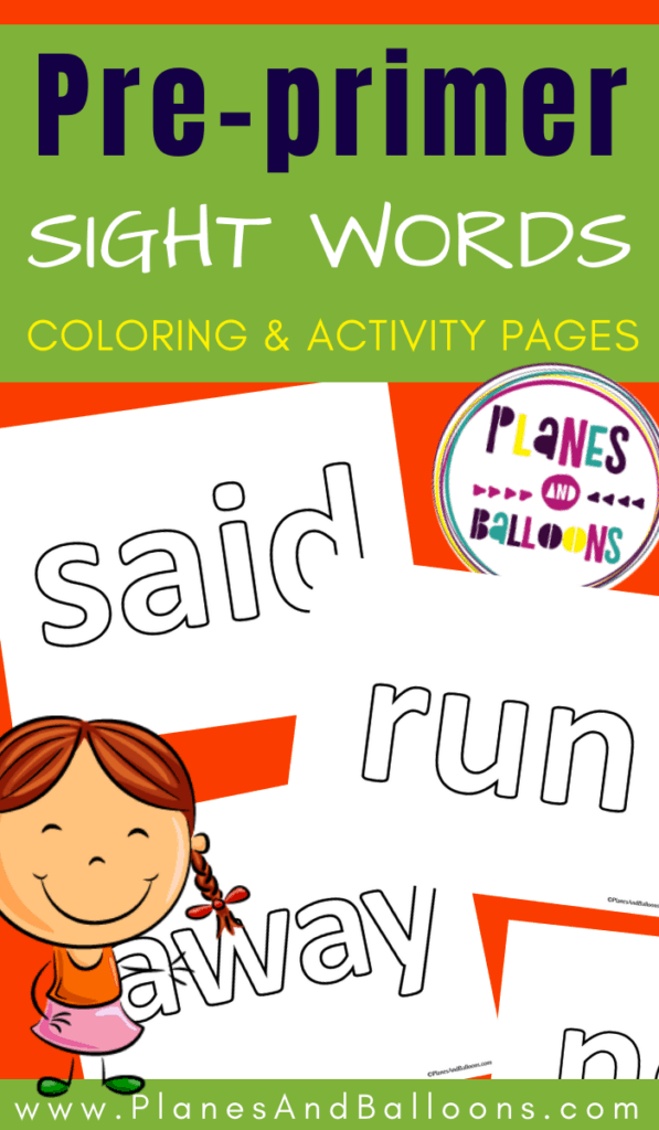 Dolch pre-primer sight words pages to color