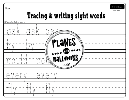 First grade sight words tracing sheet