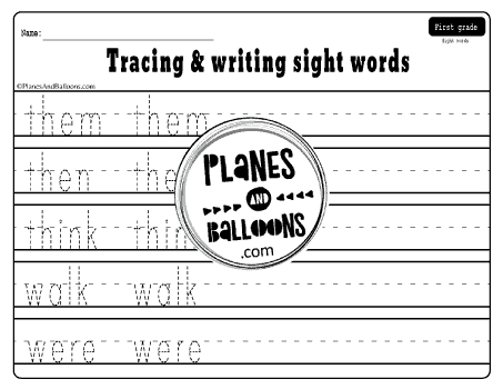 Example of the sight words tracing worksheets including 5 high frequency words from the Dolch list to trace and write