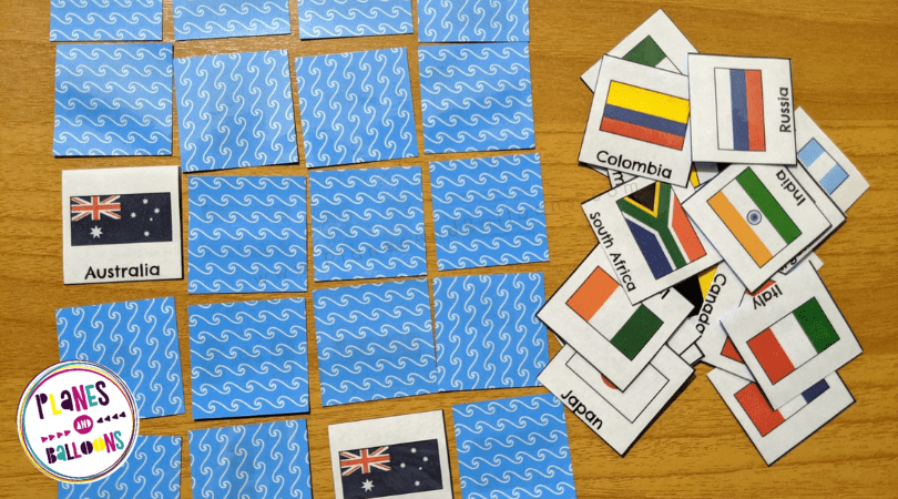Flags of the world memory game for kids
