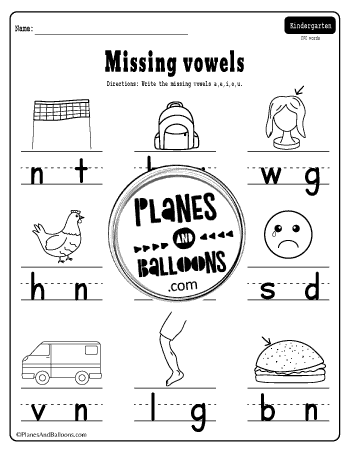 missing vowels words worksheet with pictures
