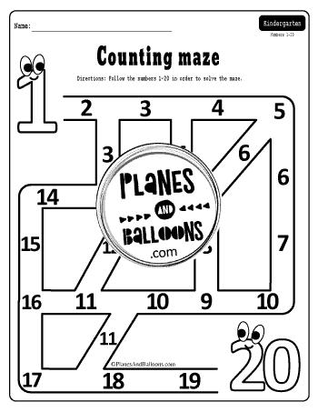 number maze 1-20