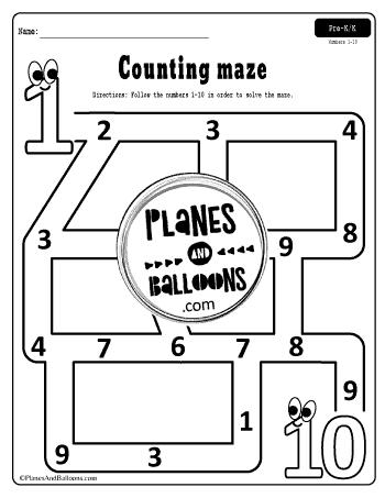 number maze 1-10