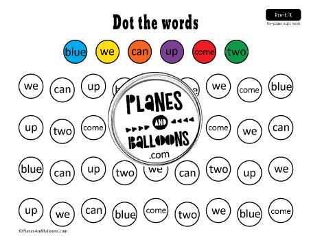 Pre primer sight words worksheets