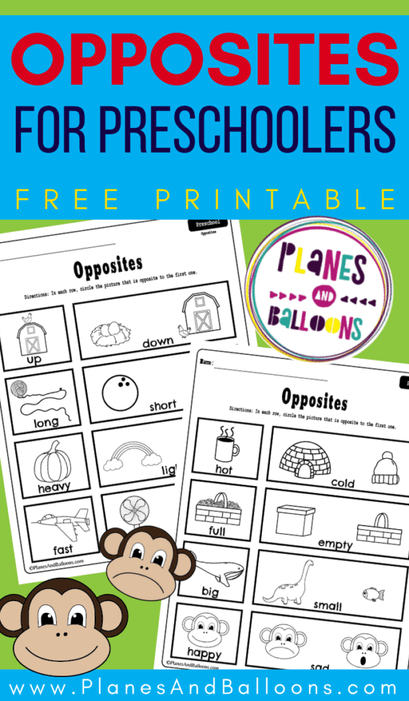 Preschool opposites printable worksheets
