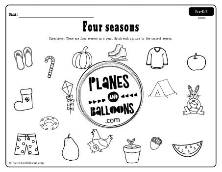 Match the seasons worksheets