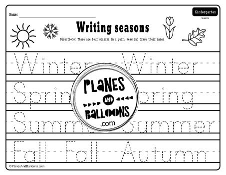 Seasons tracing worksheet