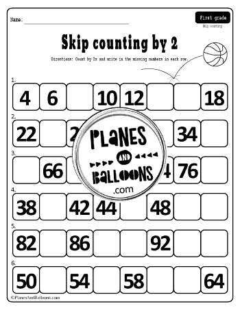 skip counting by 2 worksheet