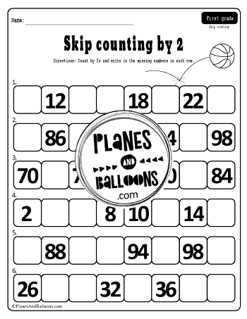 skip counting by 2 worksheet grade 1