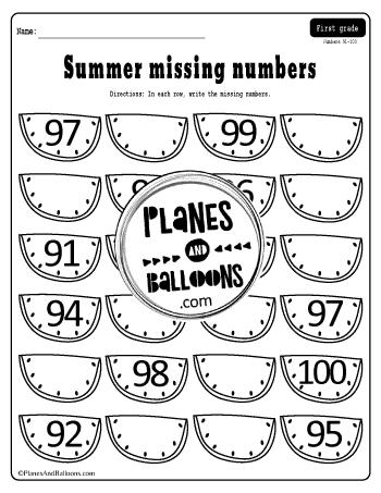 missing numbers worksheets 1-100