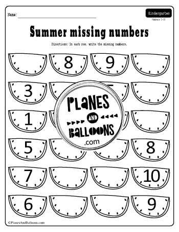 missing numbers worksheets 1-10