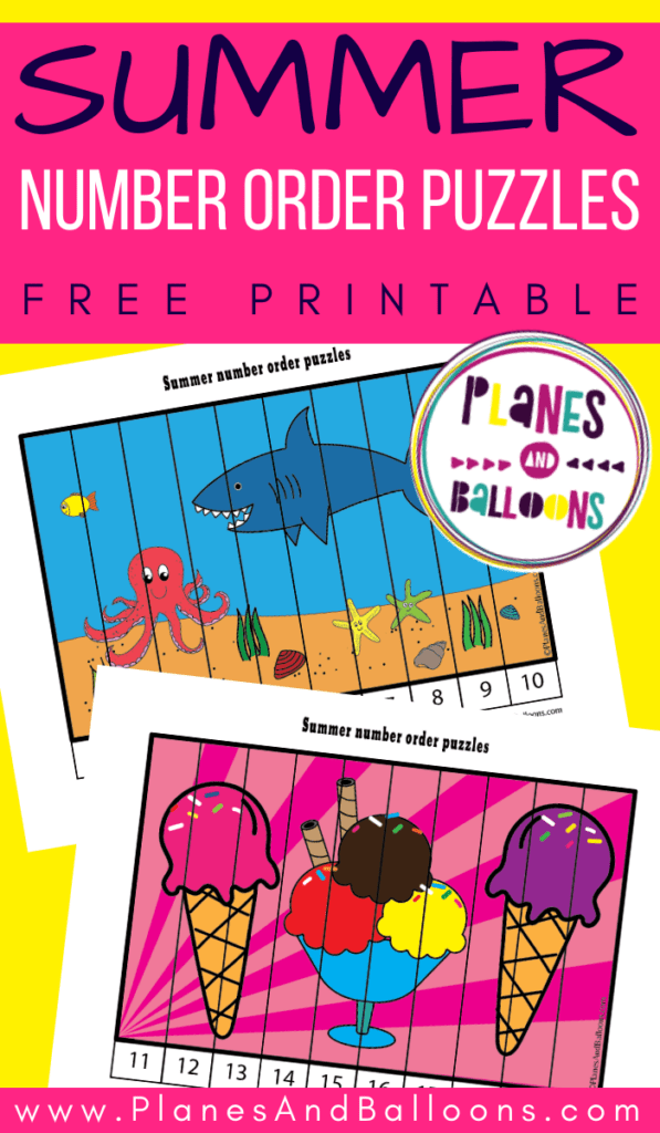 Printable summer puzzles with ocean animals and ice cream for numbers 1-20