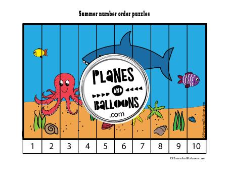 Ocean animals number order puzzle