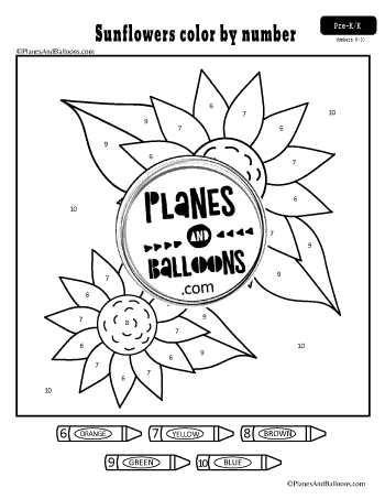 Sunflower color by number worksheet