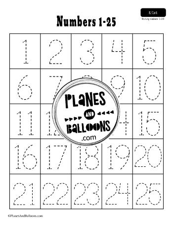 Tracing numbers 1-25 worksheet