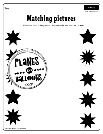 matching pictures of stars worksheet