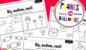 preschool worksheets big medium small