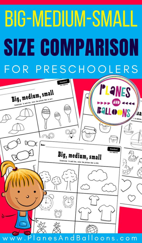 preschool worksheets big medium small