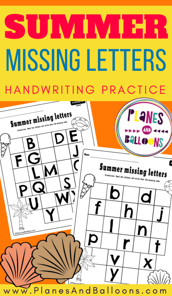 Summer missing letters worksheets kindergarten