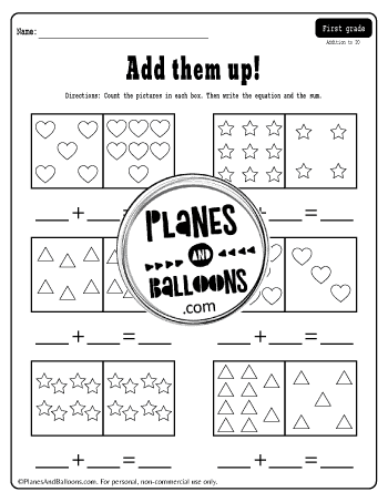 Addition to 20 with pictures of hearts, stars and trianglesto count