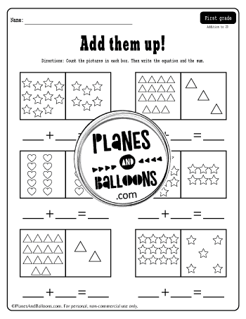 Addition to 20 worksheet - counting stars, hearts and triangles