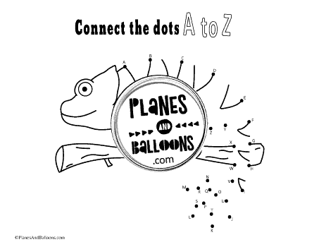 chameleon dot to dot page with letters A to Z