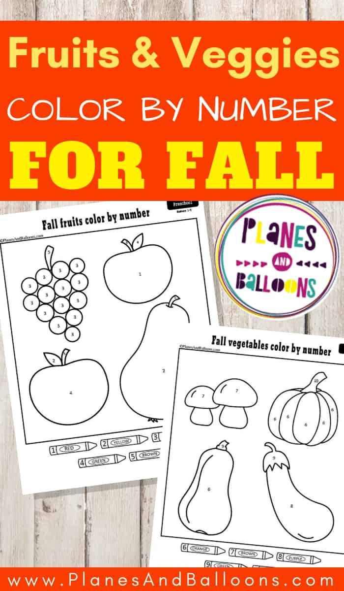 Fall color by number worksheets with Fall fruits and vegetables on a grey wooden background