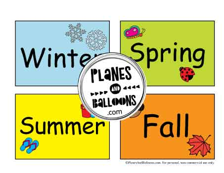 4 seasons cut outs for circle time calendar activities