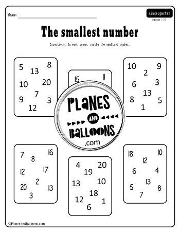 circle the smallest number worksheet