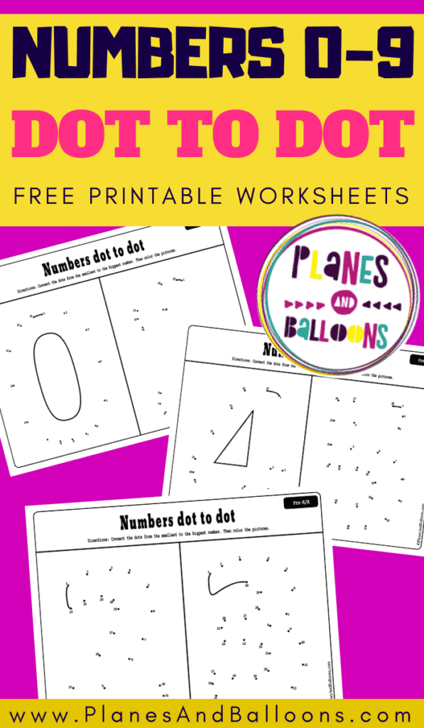Numbers dot to dot printables worksheets on a pink background