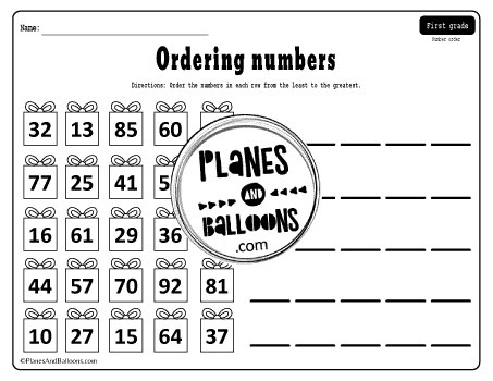 Numbers 1-100 ordering worksheets for 1st grade