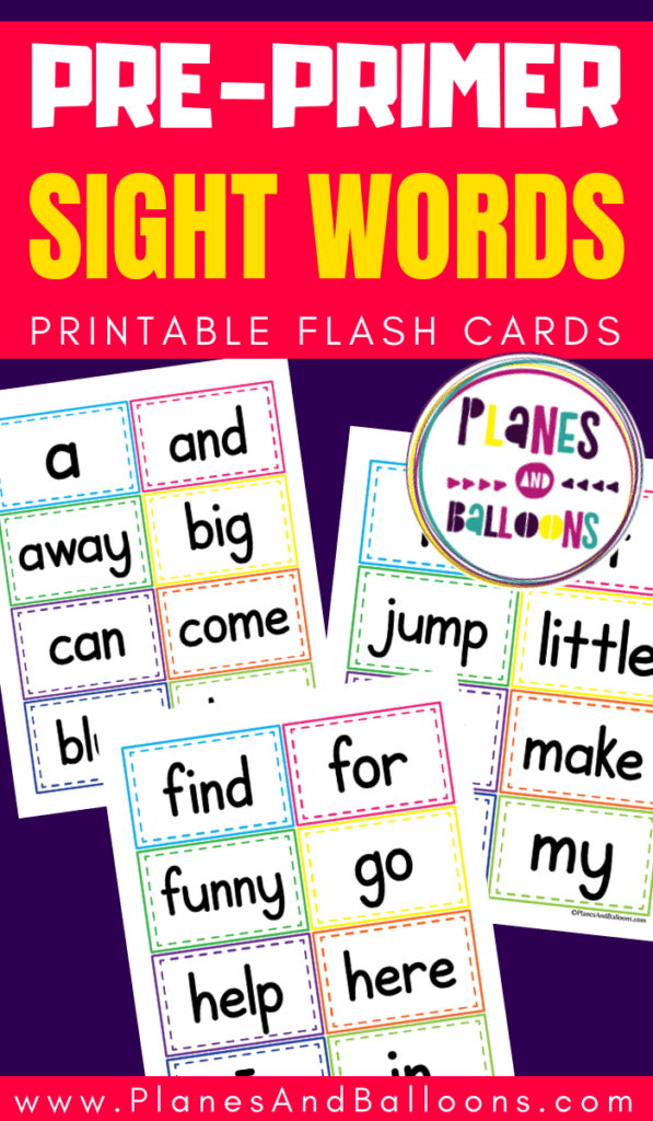 Pages with Dolch sight words for pre-kindergarten 40 words