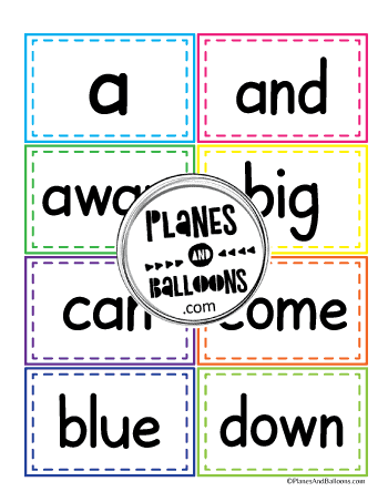 pre-primer sight words flash cards eight cards per page