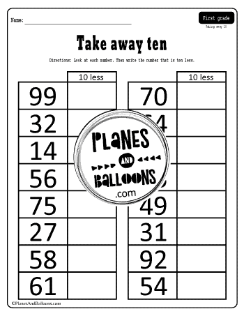 write a number that is ten less worksheet for grade 1