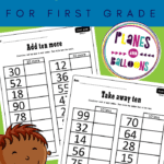 ten more ten less worksheets on a green background with a clipart of a boy
